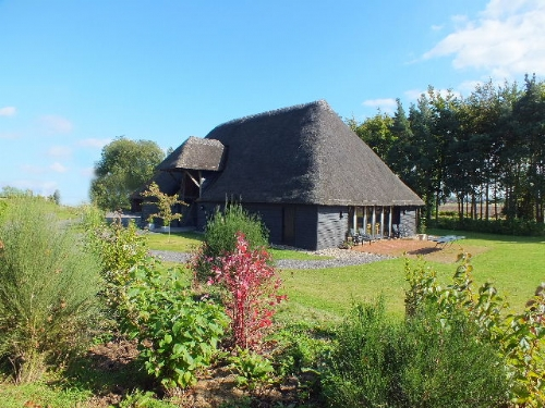 The dramatic exterior of Great Higham Barn