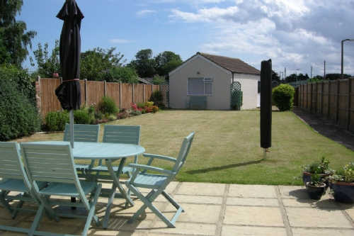 Large enclosed rear garden, games room, Corner House, Wells-next-the-sea Norfolk
