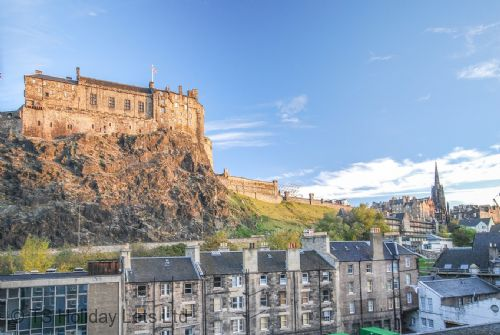 View of Edinburgh castle from apartment block