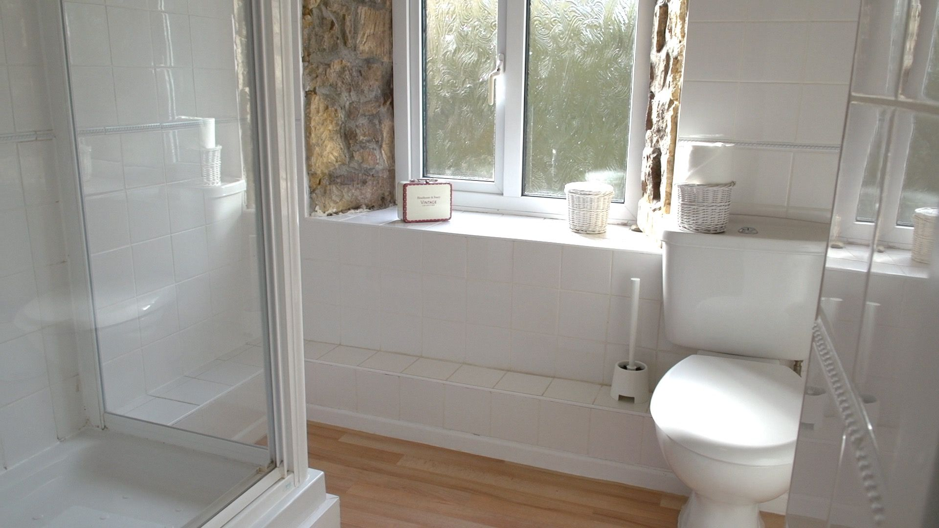 Walk in Mira Shower, WC and Basin in vanity unit