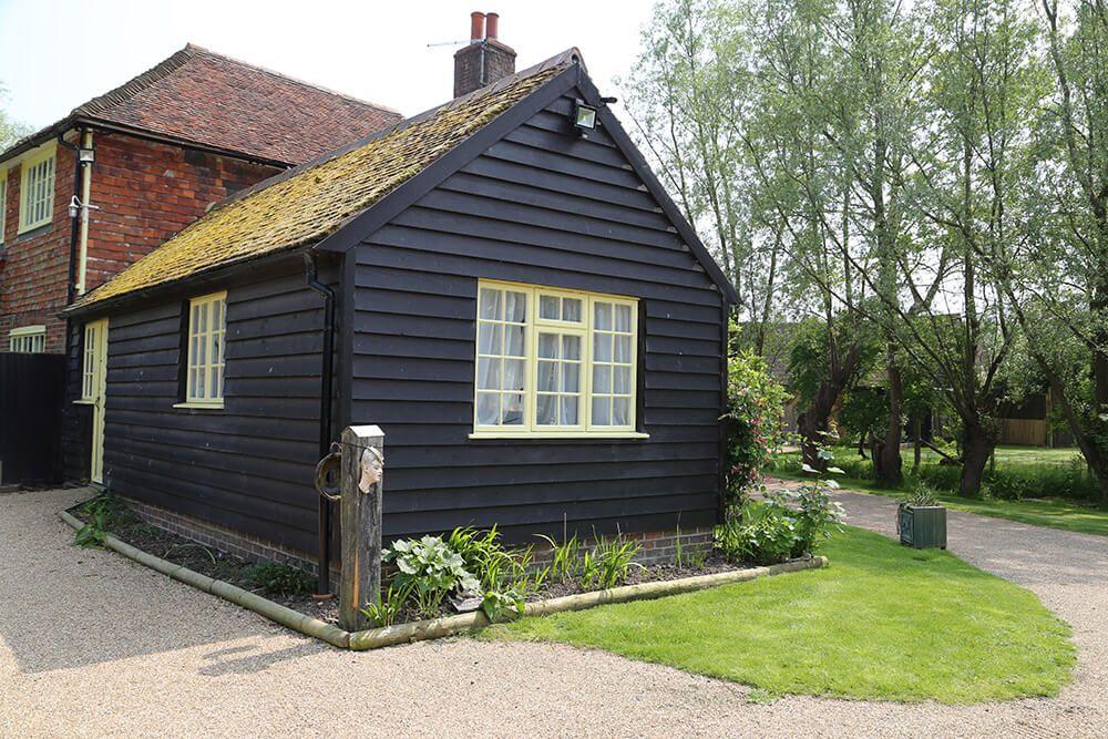 Reverend Candy Studio, sleeping two, adjoins Larkin Farmhouse via a beautiful old oak door