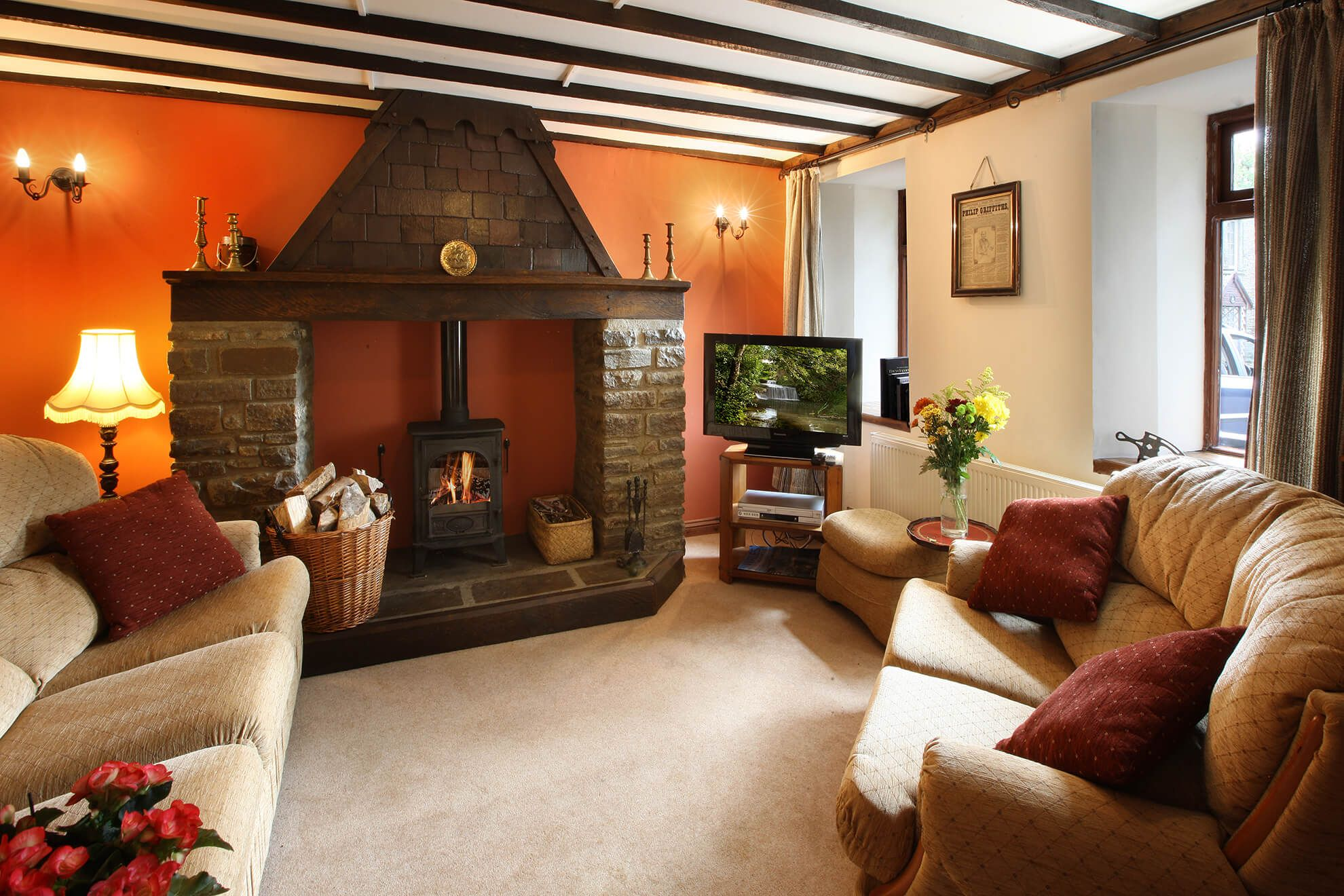 Ground floor: Living room with wood burning stove