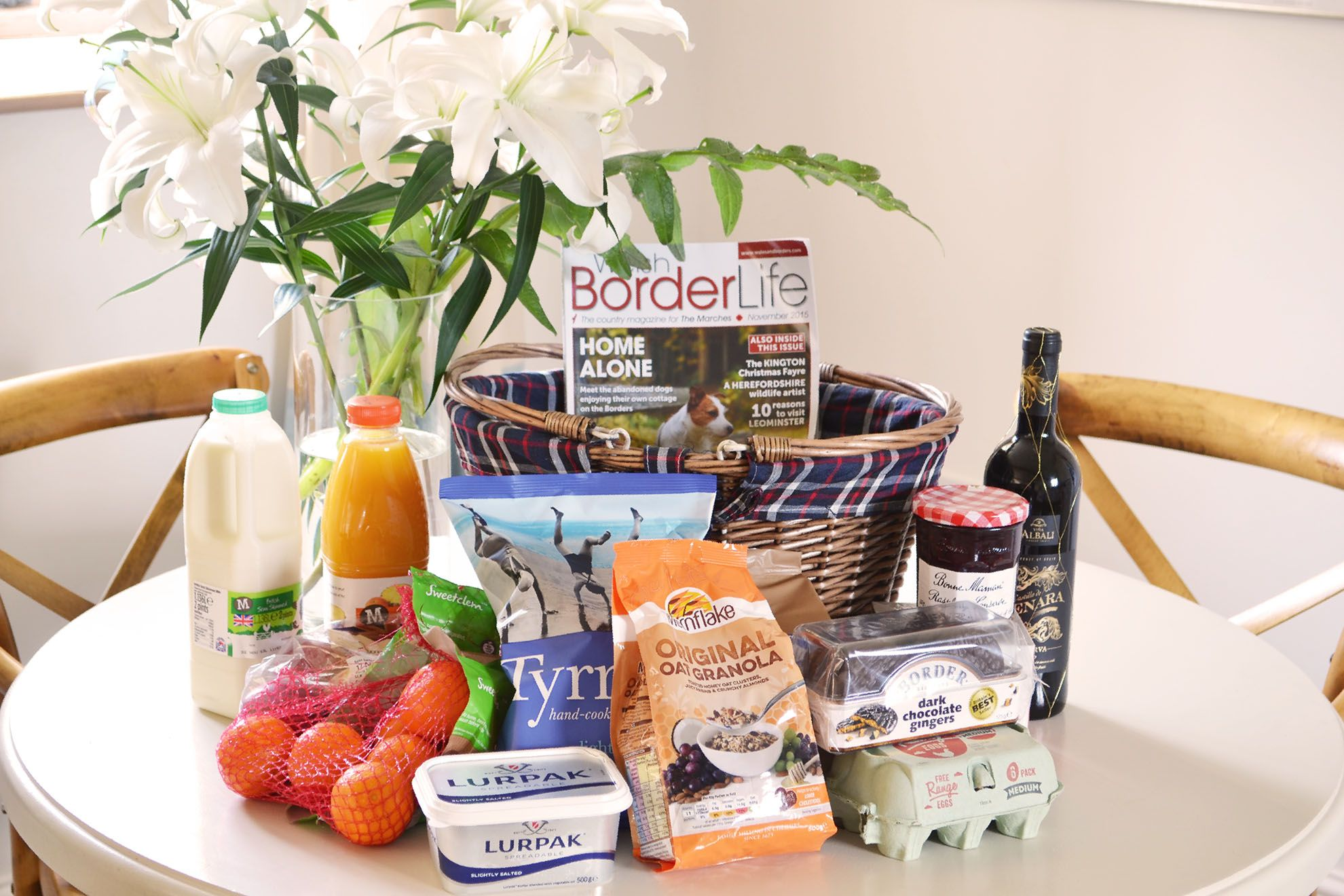 A complimentary welcome hamper awaits guests on their arrival