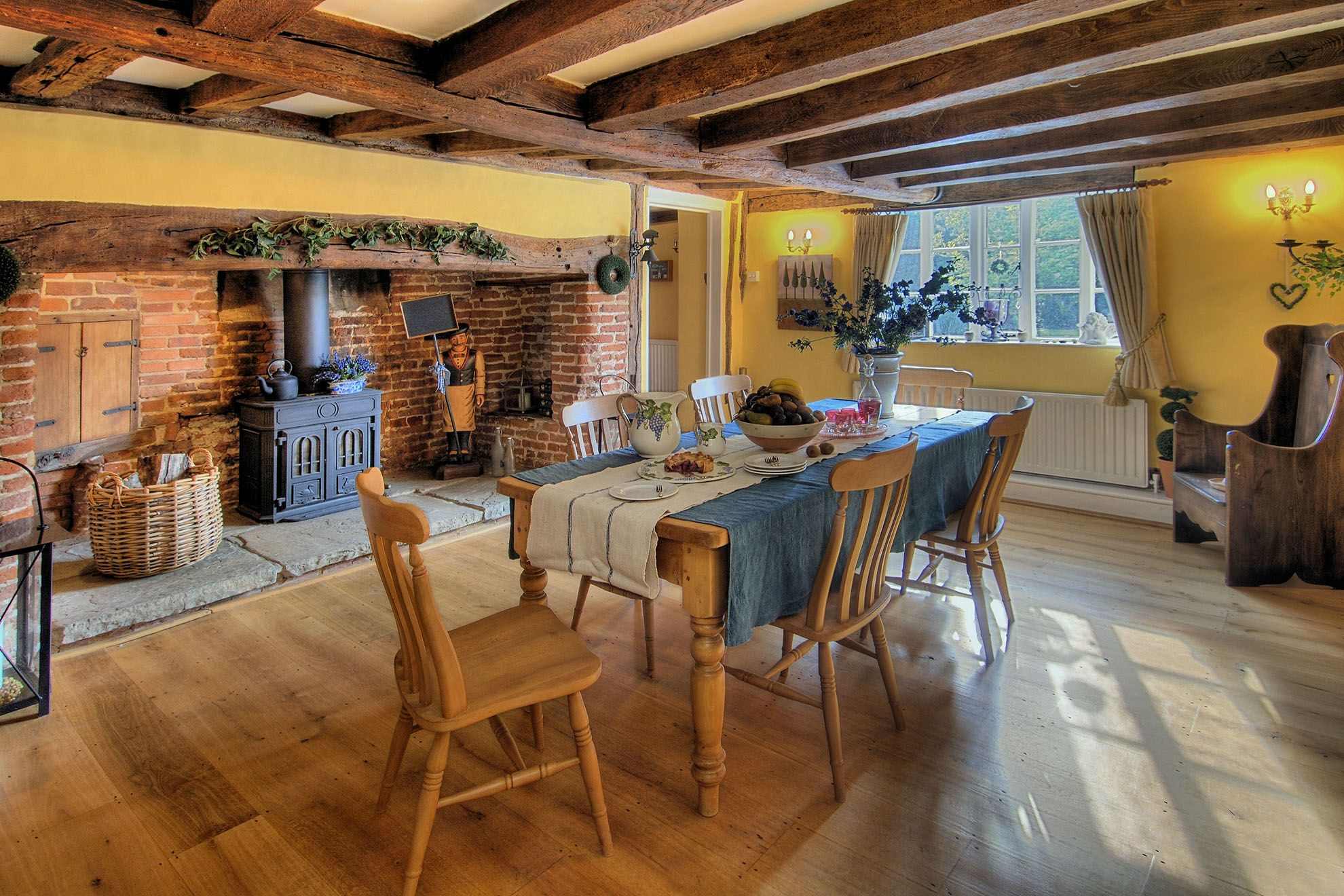 The Farmhouse ground floor: Dining room with seating for 18 & wood burner