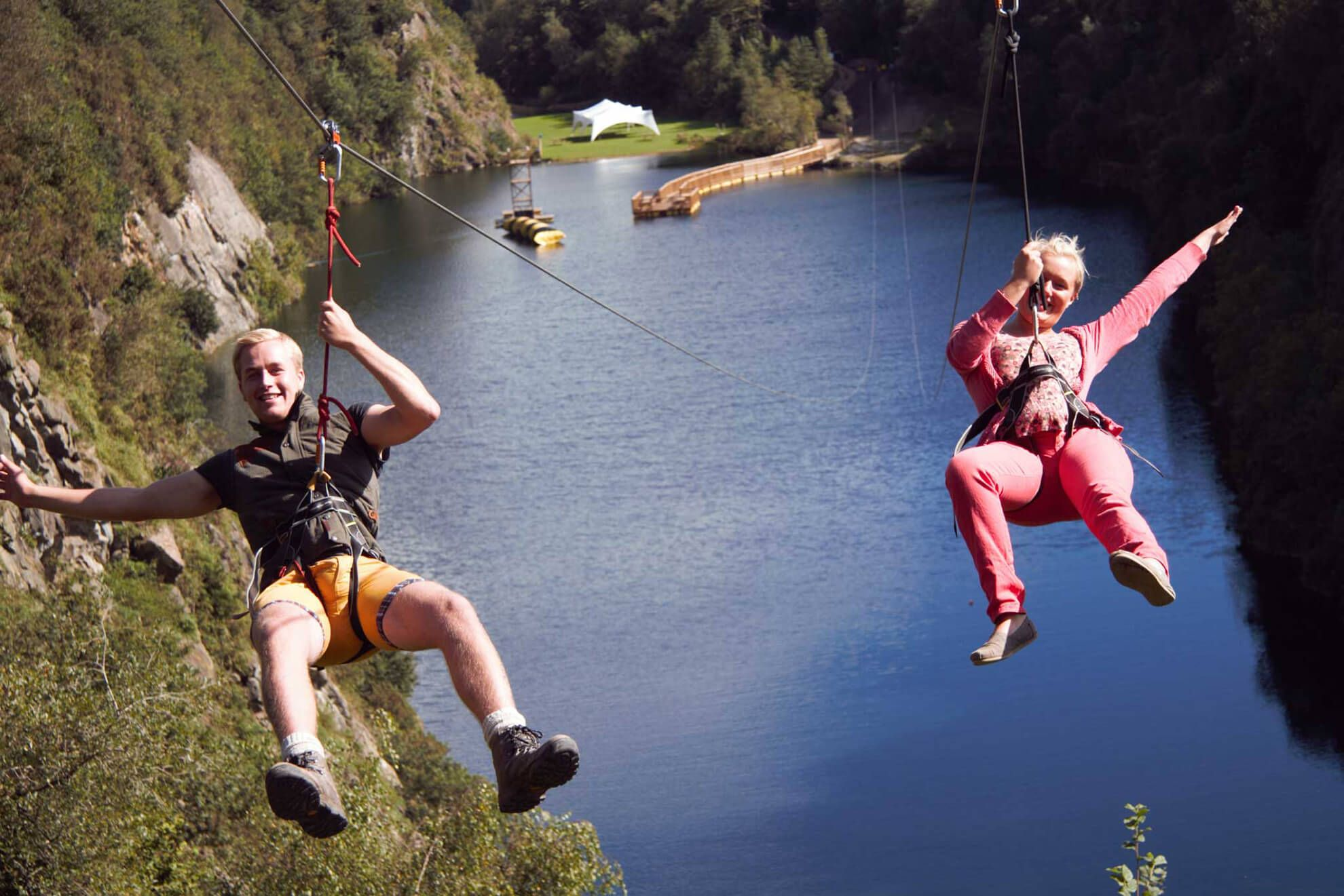 The UK's longest zip wire at Adrenalin Quarry near Liskeard
