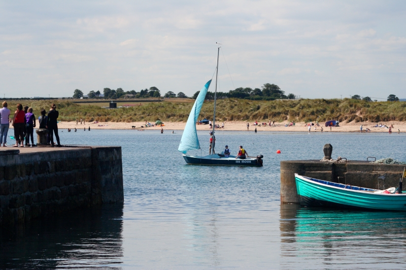 Dinghy sailing out of Beadnell Harbour