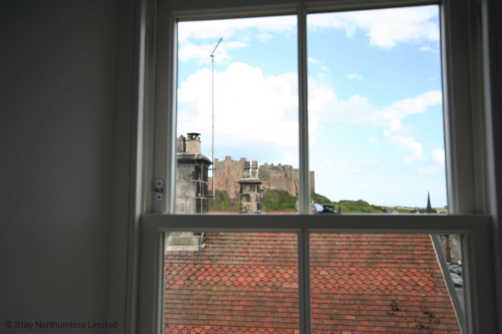 With views of the castle from upstairs.