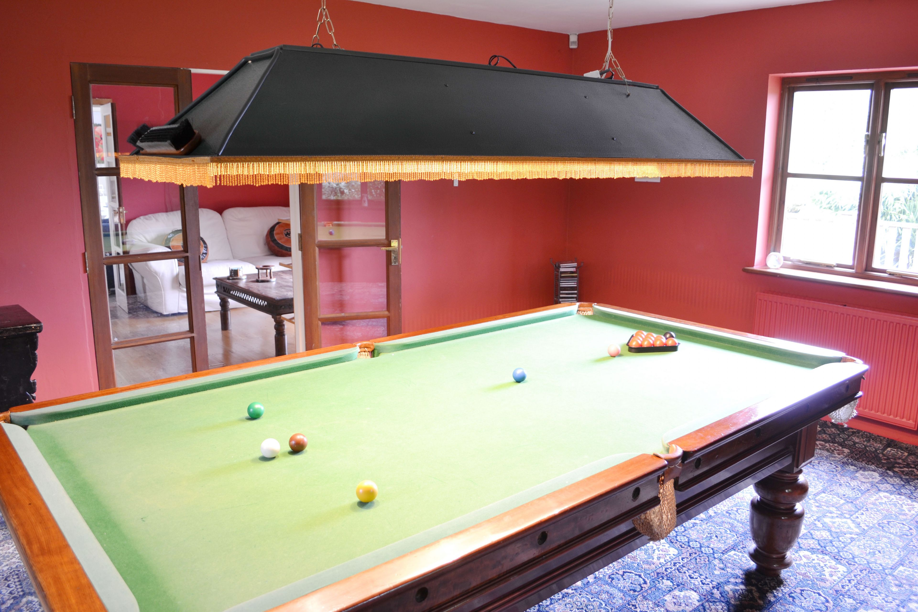 The Barn ground floor: Billiards room with snooker and pool balls