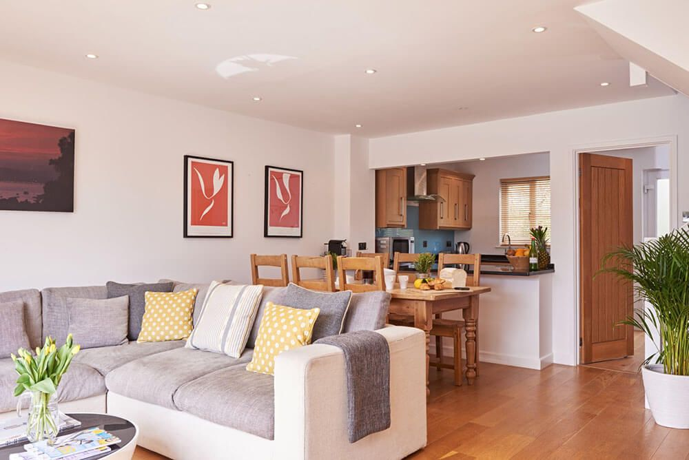 Ground floor: Open plan living space with sitting and dining areas seating six