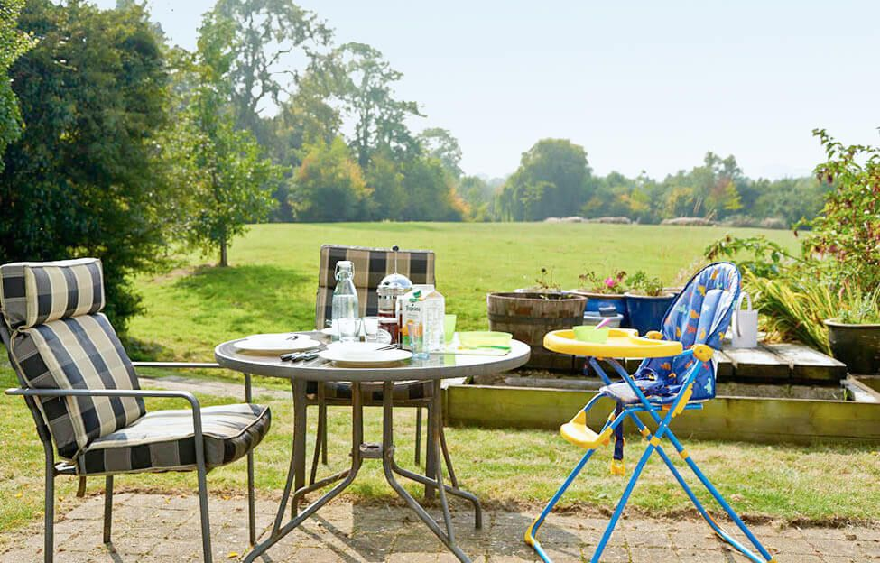 The garden is ideal for alfresco dining and relaxing in the peaceful atmosphere