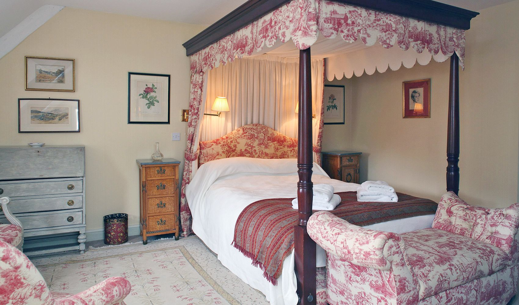 First floor: Master bedroom with views across the orchard to the Abbey beyond
