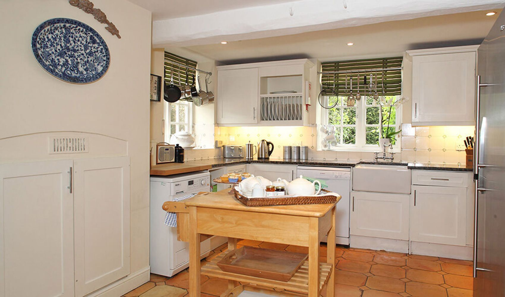 Ground floor: Well equipped, oak beamed kitchen with a dining area