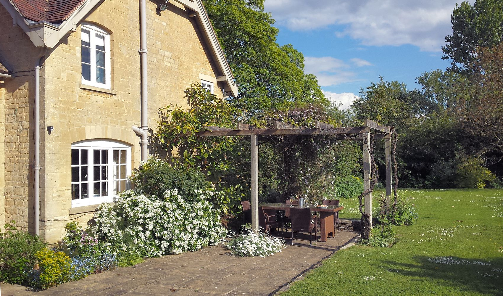 Terrace with vines and rose-covered pergola, garden furniture and barbecue