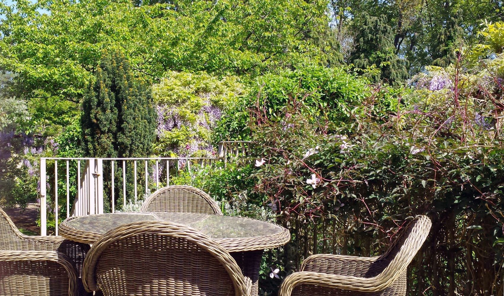 Terrace off the drawing room with garden furniture and barbecue