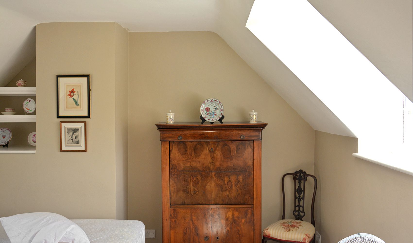 First floor: Mellow antique walnut secretaire in the twin bedroom