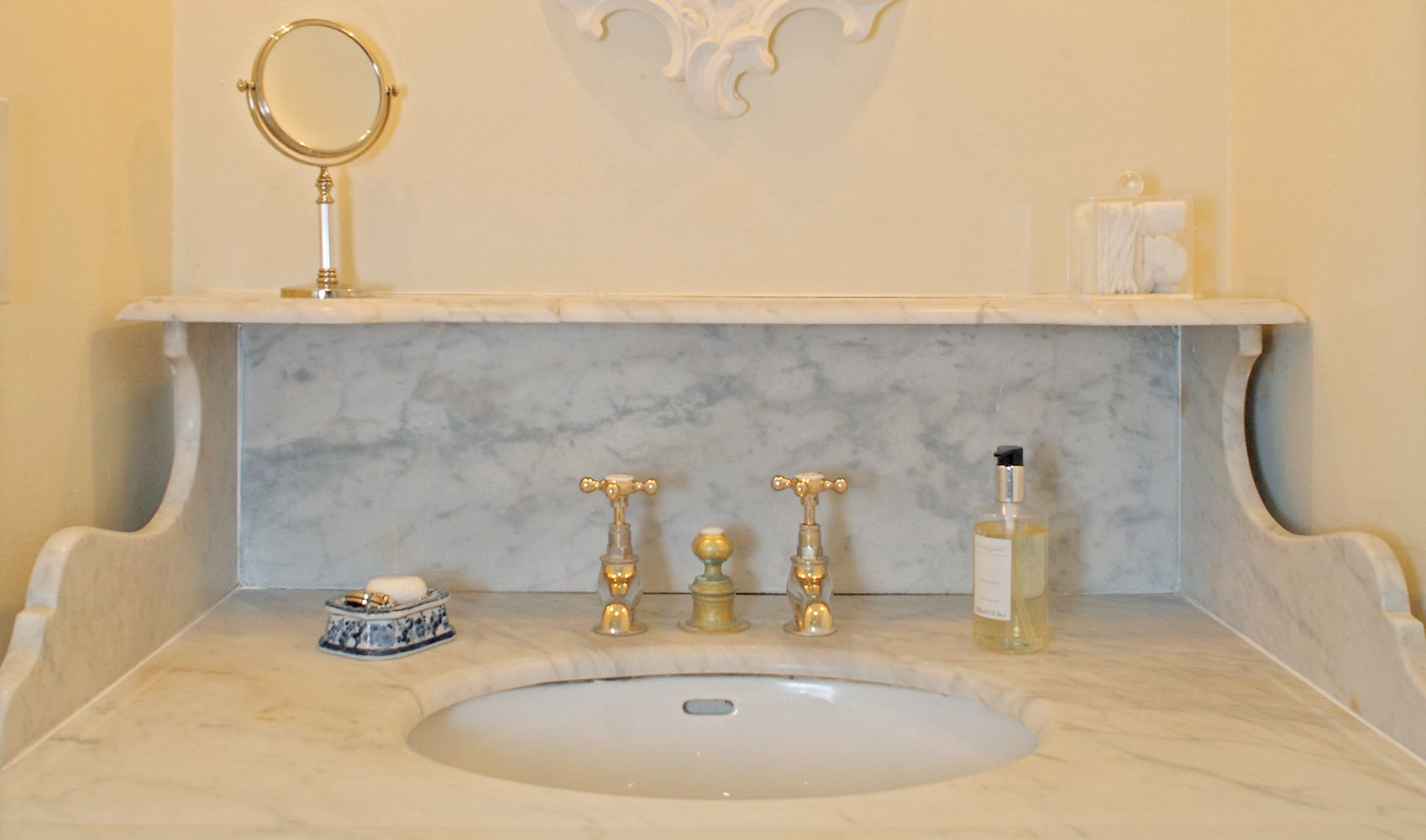 Ground floor: Fine old marble-topped French washstand in en suite bathroom