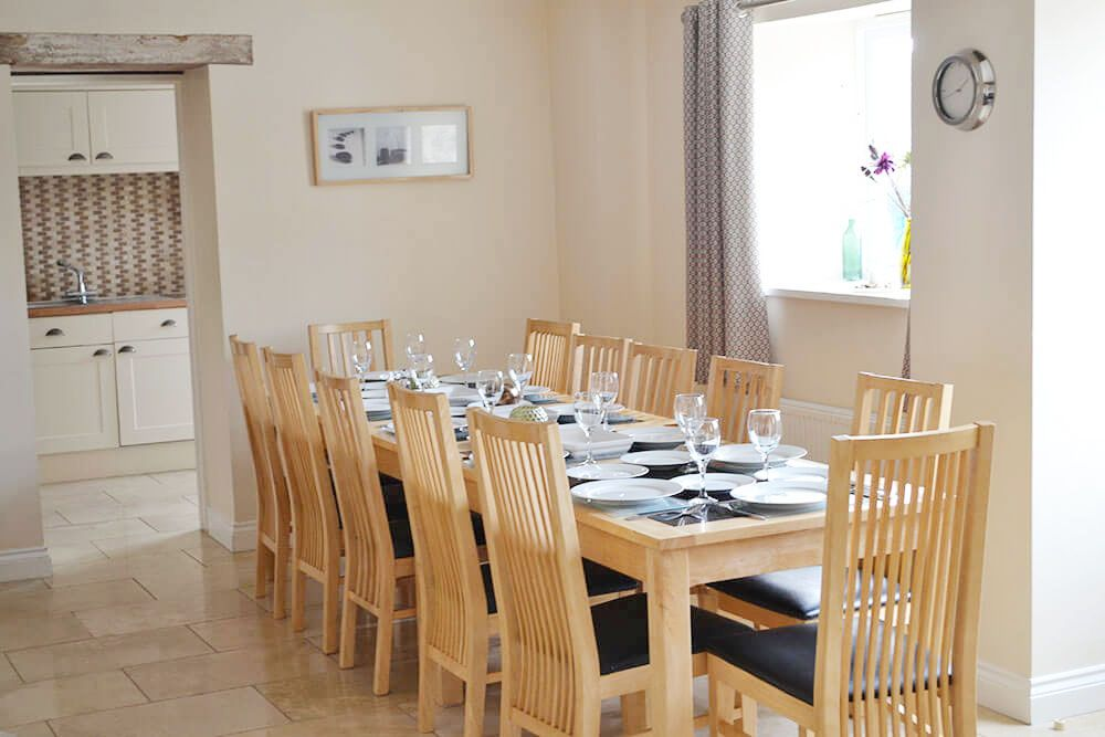 When booking with other cottages at Webbington, the dining table at Golightly can be extended to seat 12
