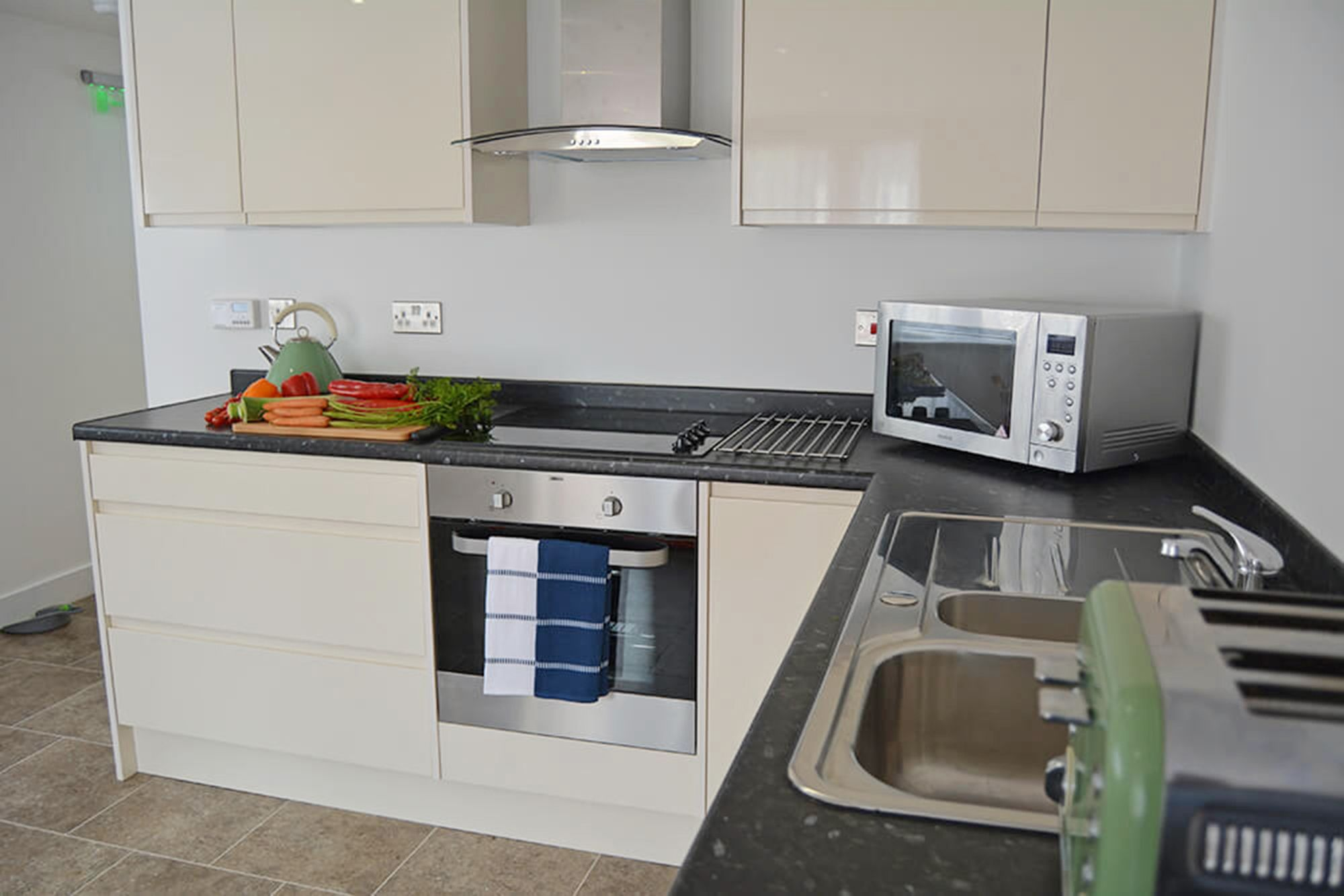 Modern fitted kitchen in the open plan living space