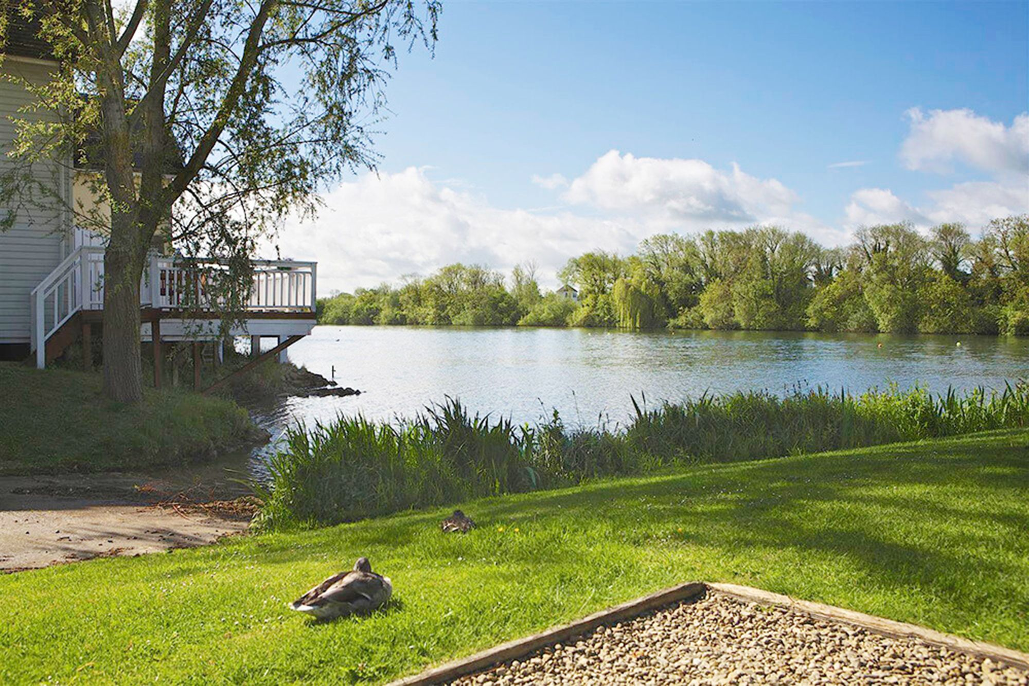 The lodge has prime position in the Water Park with stunning views across Spring Lake
