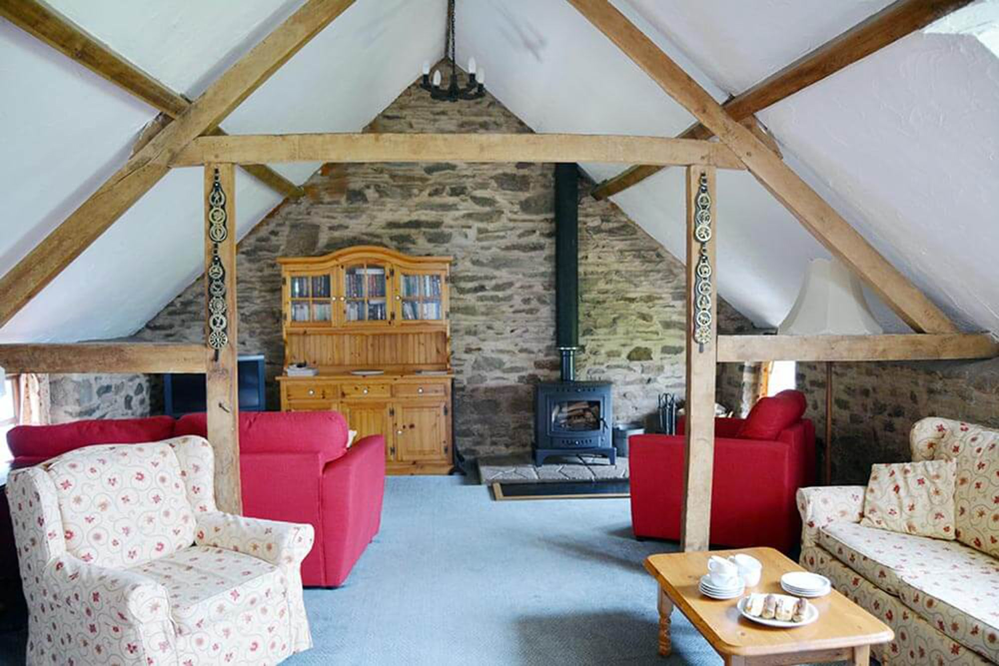 Jasper Cottage first floor: Large sitting area in the spacious open plan living space with superb views