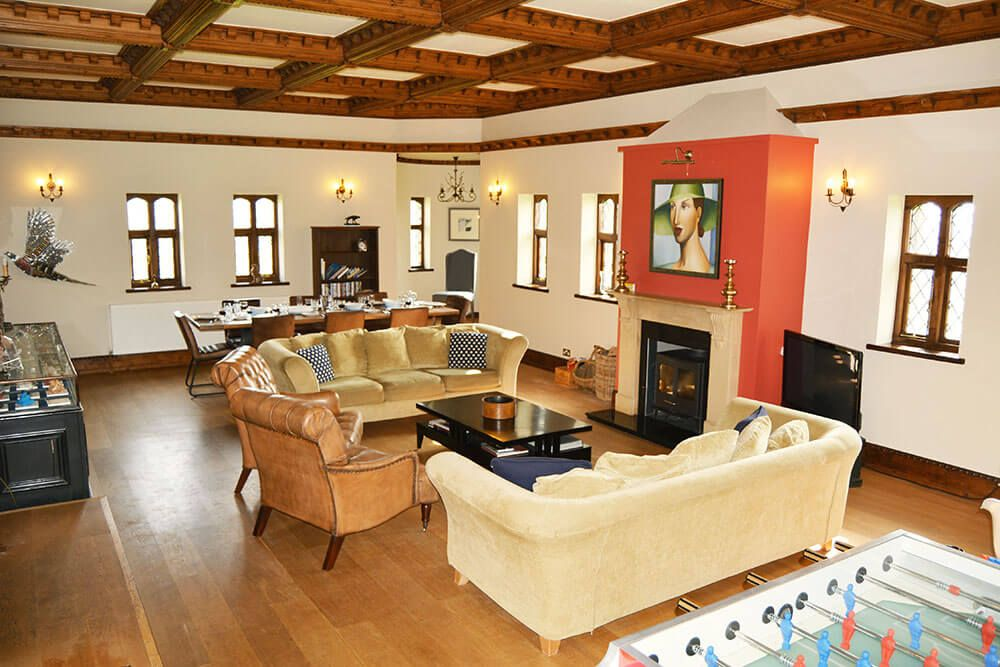 Ground floor: Reception room with open fire and dining area