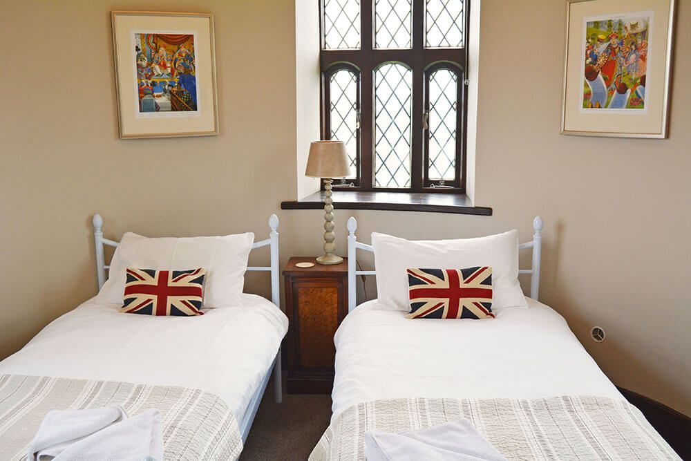 Tower second floor: Circular twin bedroom with 3' beds and access to the roof terrace