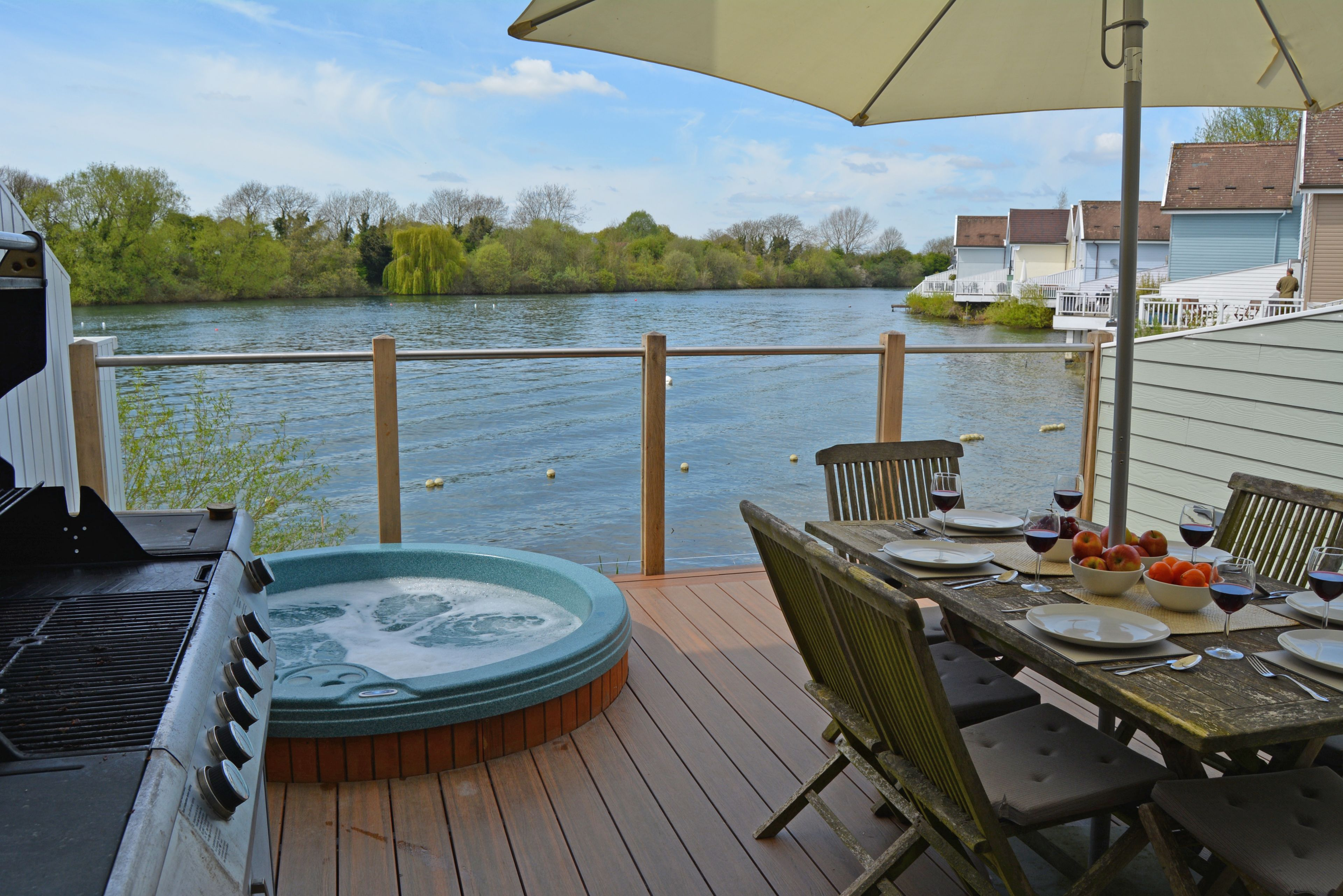 The hot tub on the secure lake deck makes the perfect place to watch the world go by