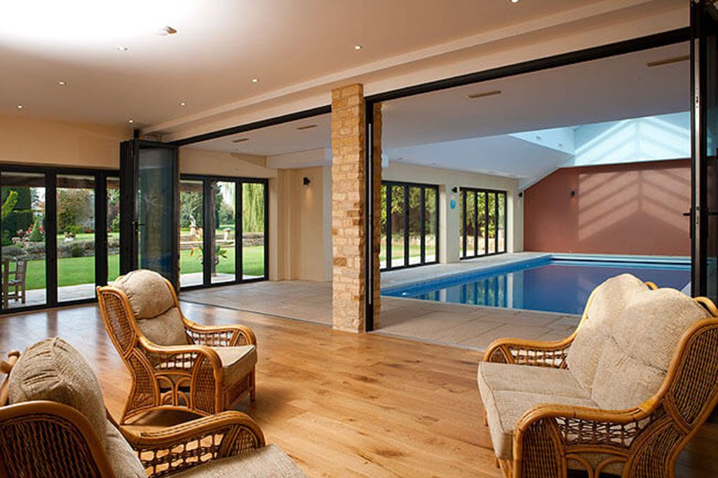 The shared swimming pool complex is also home to a large entertainment room with a dining table, lounge chairs and a large TV complete with Sky Sports and Movies
