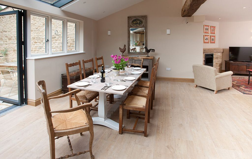 Ground floor: Dining area where light floods in from the skylight