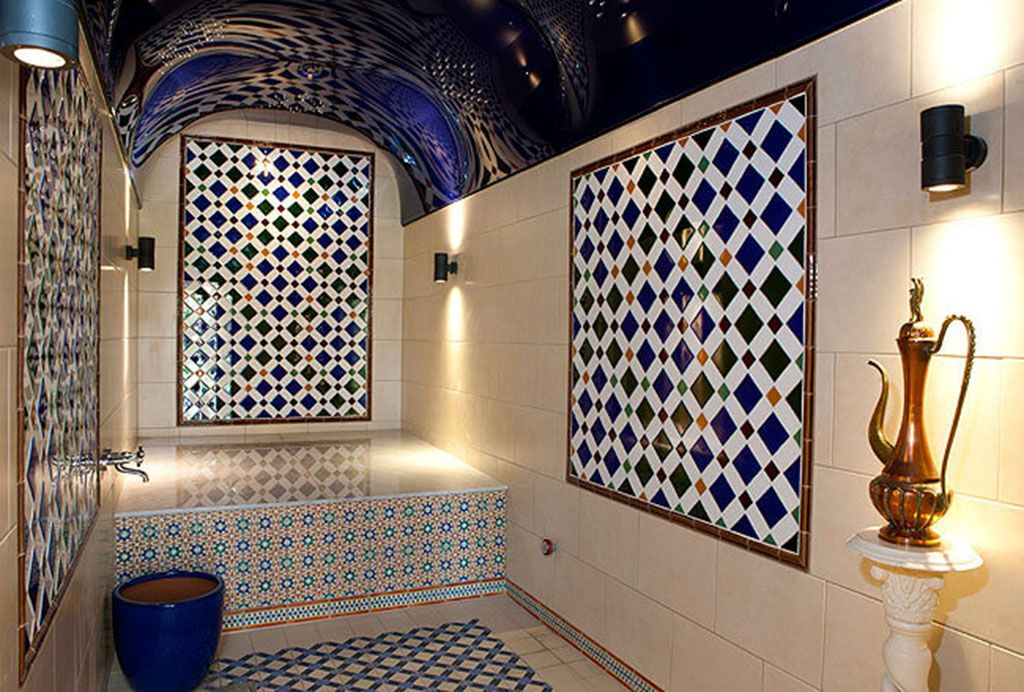 Relax and exfoliate in the stunning Turkish steam room, part of the shared swimming pool complex