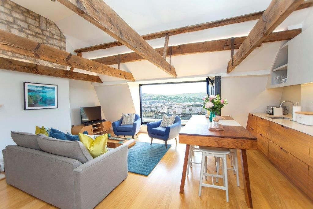 Open plan living with stunning views over Bath