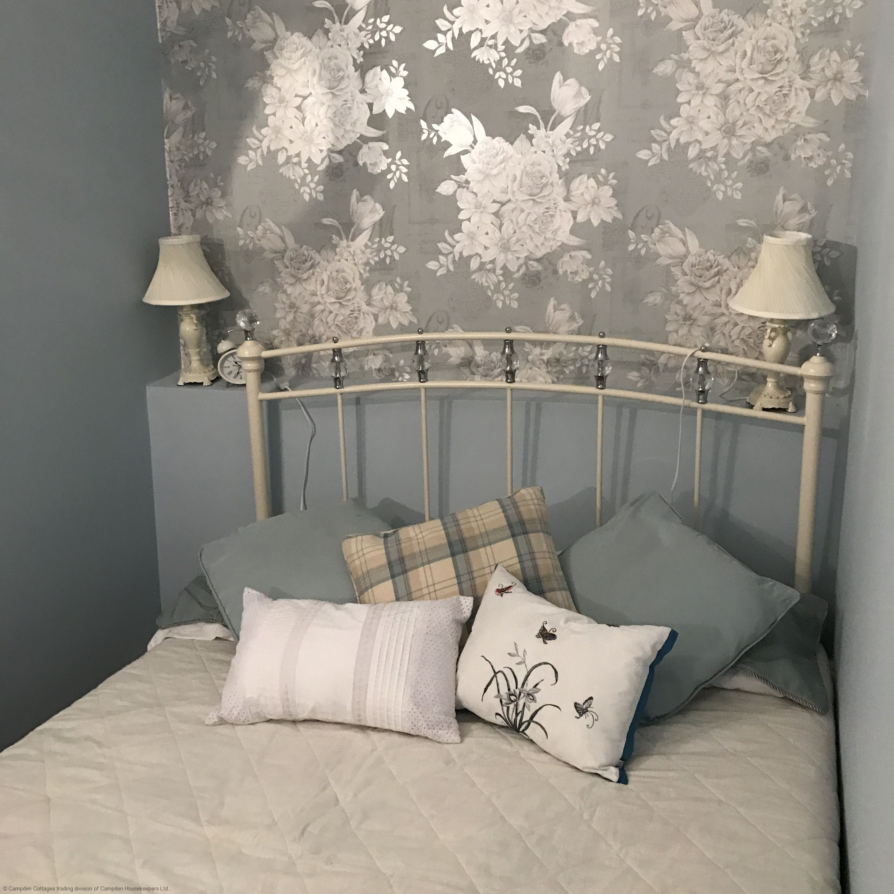 Double Cream metal bedstead accessorised with Crystals