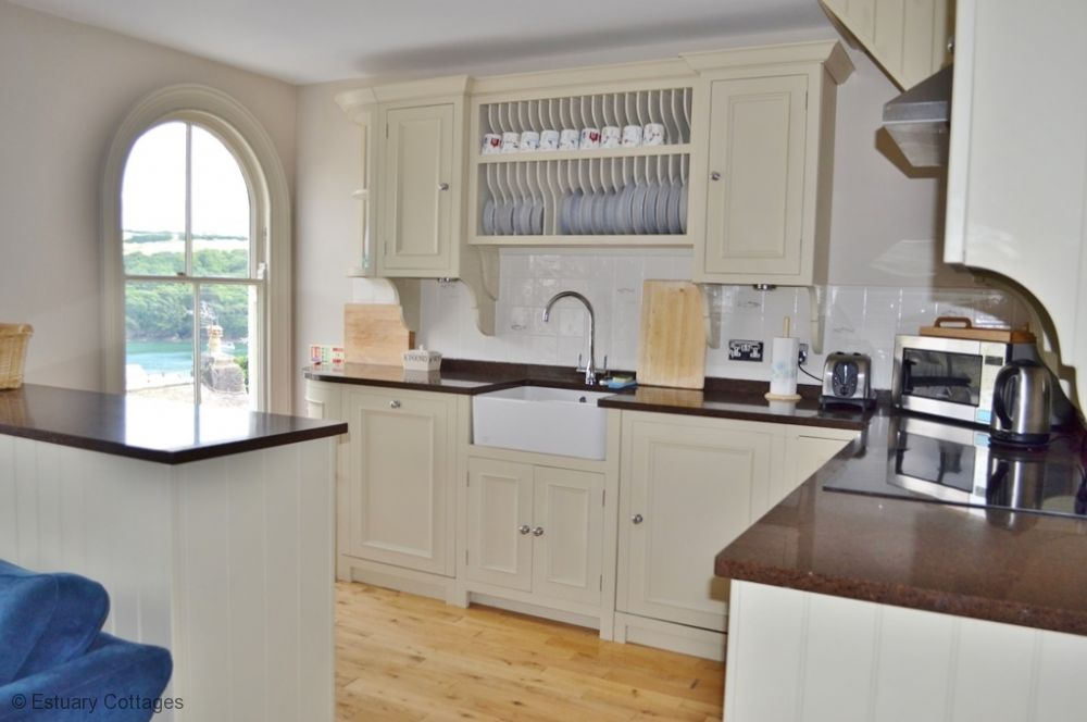Kitchen with river and town views