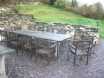 Large gas BBQ with picnic table, seating for 12 and outside lights