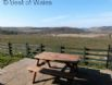 Furnished patio with spectacular views of Ceredigion countryside.