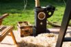 Woodburner and logs are provided